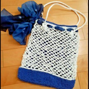 NEW Unique Crochet Tote Bag / Purse with Scarf bow